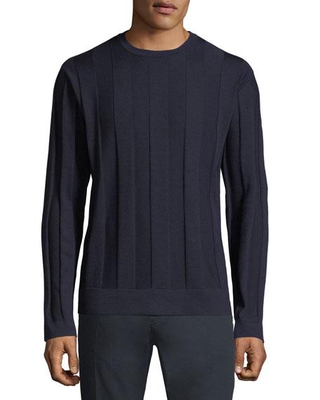 Lightweight Tonal Striped Wool Sweater