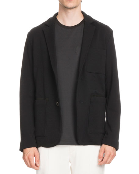 Patch-Pocket Knit Blazer