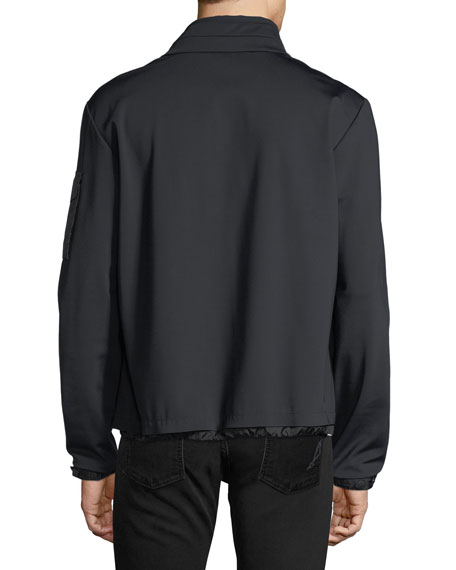 Soft-Shell Tricolor Zip Jacket, Black