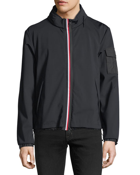 Soft-Shell Tricolor Zip Jacket, Black