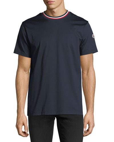Relaxed T-Shirt with Tricolor Neck, Navy