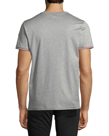 Tricolor-Sleeve Pocket T-Shirt