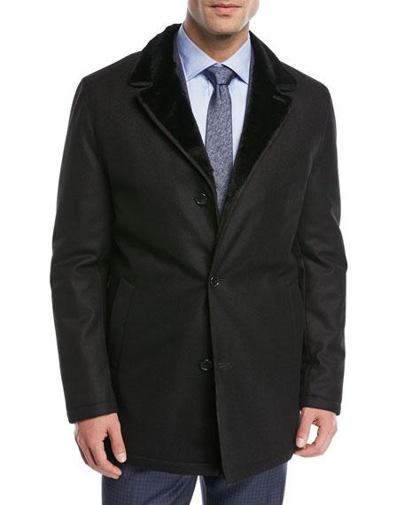 Rabbit-Lined Wool Car Coat