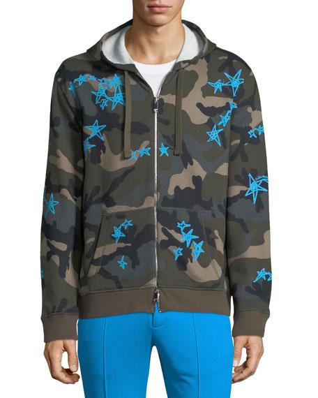 Camouflage-Print Zip-Front Hoodie