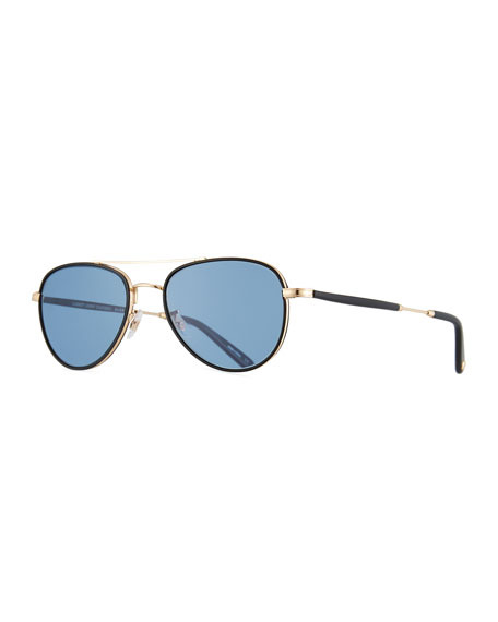 Garrett Leight Linnie Aviator Sunglasses, Blue/Gold