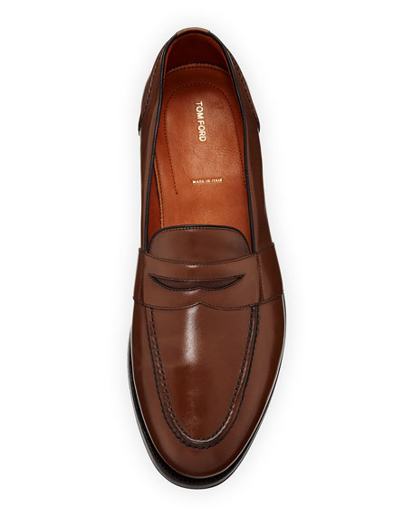 Calf Leather Penny Loafer, Brown