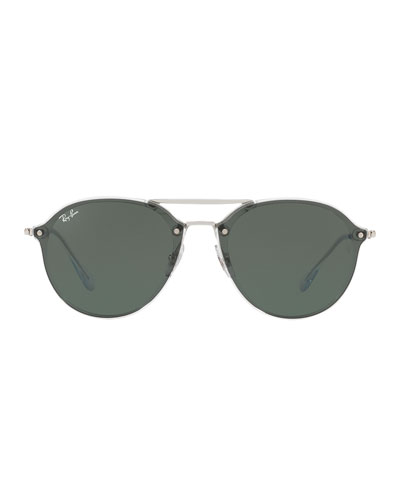 Double Brow-Bar Round Sunglasses