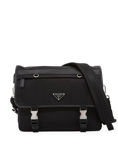 Tessuto Montagno Leather-Trim Messenger Bag