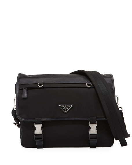 Tessuto Montagno Leather-Trim Messenger Bag