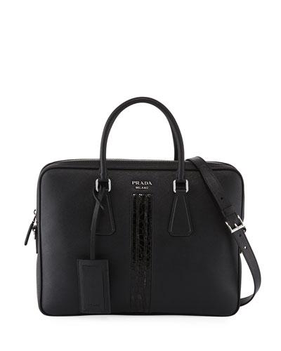 Slim Saffiano Leather/Crocodile Triangle Briefcase