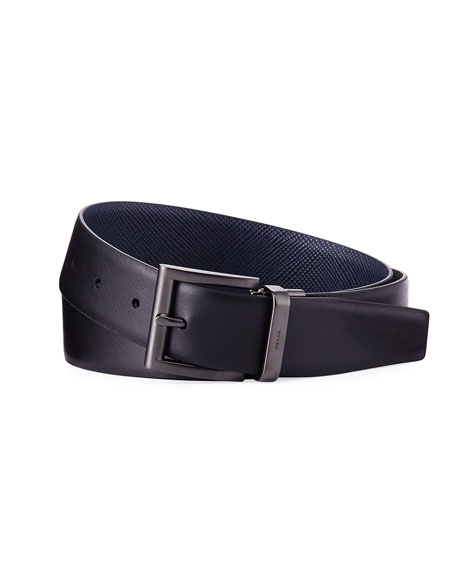 Saffiano Leather Belt, Blue/Black