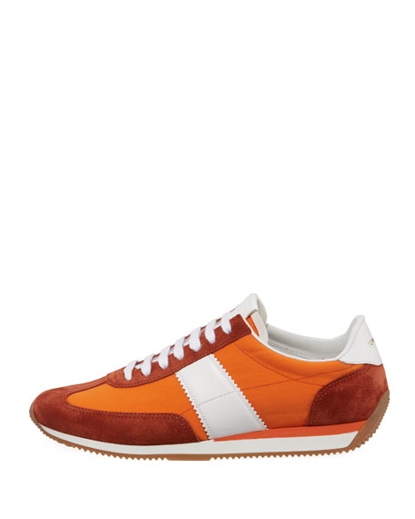 Suede-Trim Mesh-Upper Low-Top Sneaker