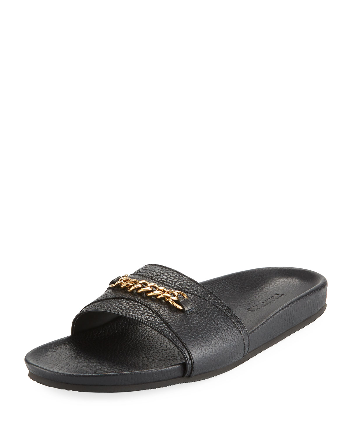 Tom Ford Slippers Leather Slide Sandal with Curb-Link Chain