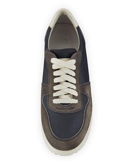 Men's Suede-Trim Trainer Sneakers, Navy