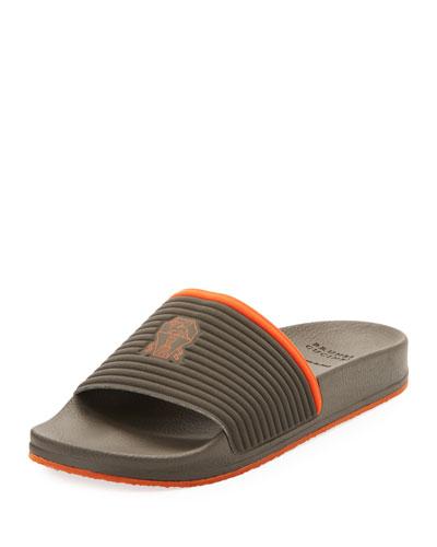 Contrast-Trim Slide Sandal