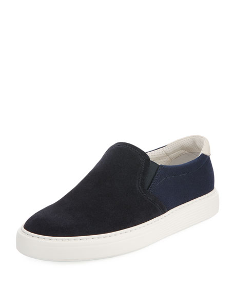 Men's Suede and Canvas Slip-On Sneakers