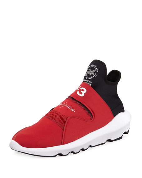 Suberou Fast-Strap High-Top Sneaker, Red