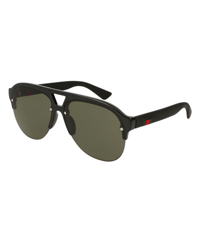Half-Frame Rubber Aviator Sunglasses
