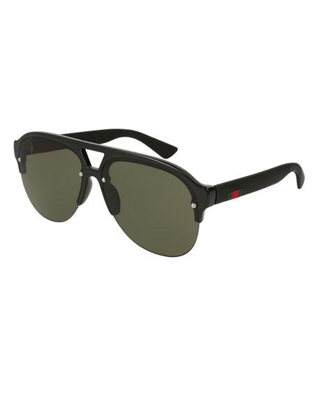 Half-Frame Rubber Aviator Sunglasses