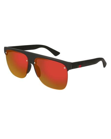 Polarized Square Half-Frame Sunglasses