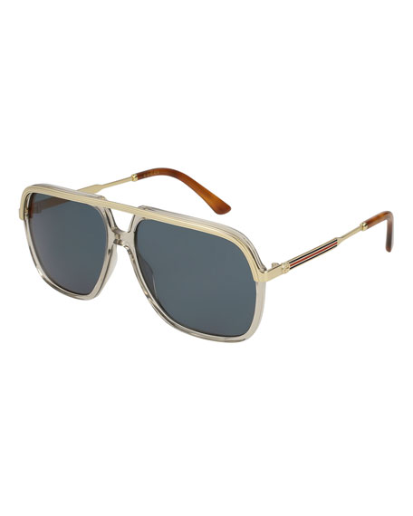 Metal-Trim Aviator Sunglasses