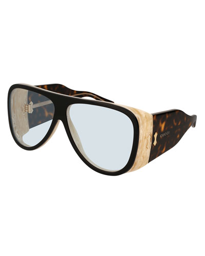 Wide Acetate Aviator Sunglasses