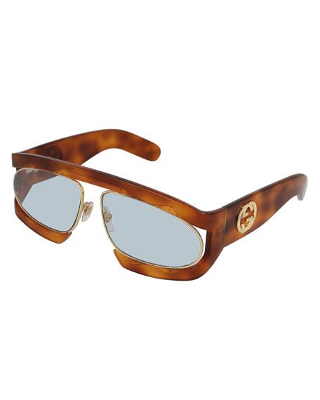 Runway Vintage Acetate Rectangle GG Sunglasses