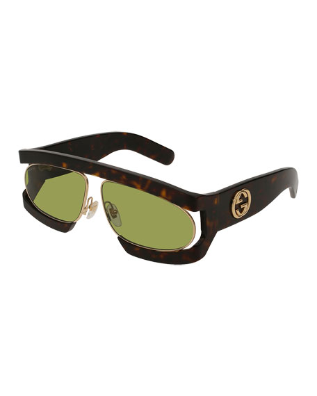 Gucci Runway Vintage Acetate Rectangle GG Sunglasses