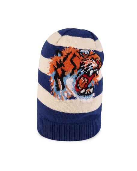 16f99d26b5551 Gucci Striped Wool Hat with Tiger Appliqué