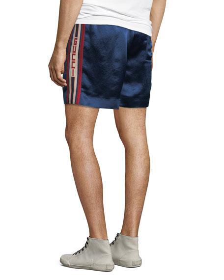 Retro Side-Stripe Sateen Sweat Shorts