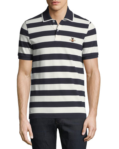 Striped Bee-Embroidered Polo Shirt