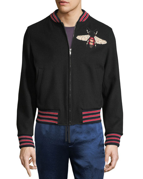 gucci large bee wool bomber jacket