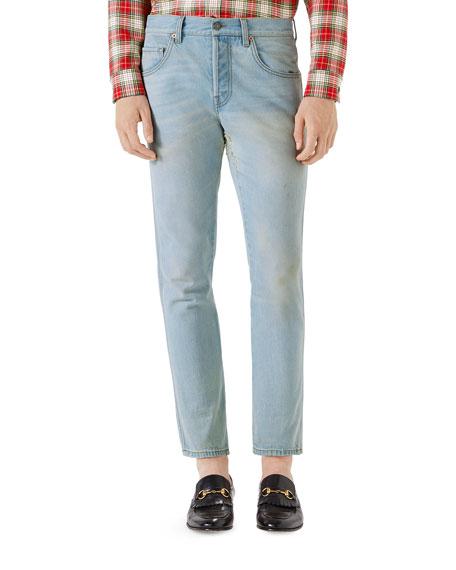 Stone-Washed Stretch Denim Jeans