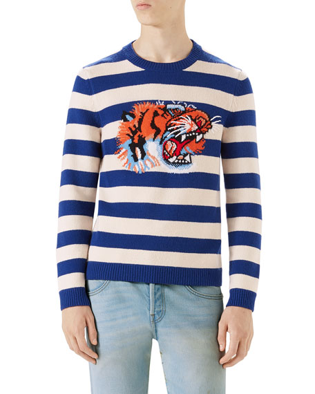 91149bfbe32 Gucci Striped Tiger Head Sweater