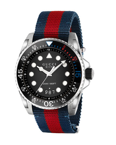 45mm Gucci Dive Watch w/ Nylon Web Strap