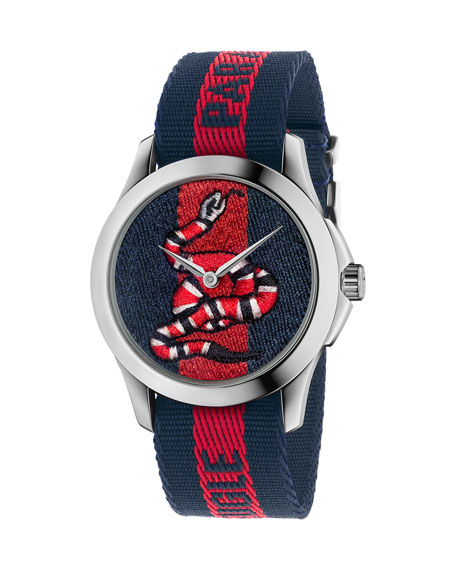 Gucci Watch Le MarchÉ Des Merveilles Watch Case 38Mm With Web Snake Pattern In Blue
