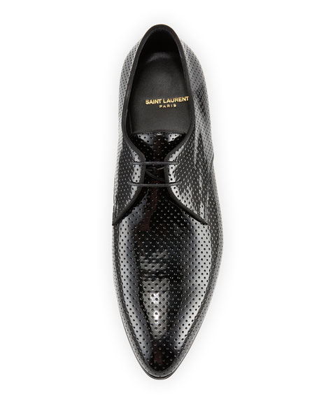 Smoking Perforated Patent Leather Derby Shoe