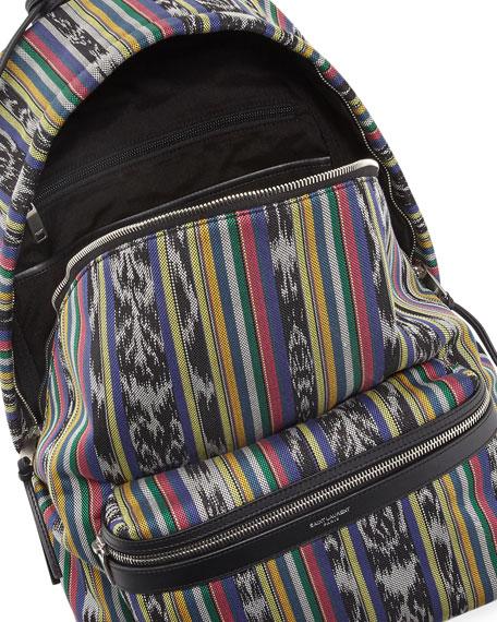 Men's Ikat-Print Leather-Trim Backpack
