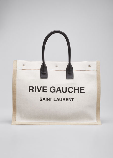 Men's Noe Cabas Large Rive Gauche Canvas Tote Bag