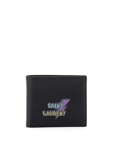 Lightning Bolt Leather Billfold Wallet