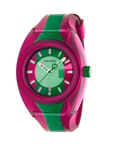 46mm Gucci Sync Sport Watch w/ Rubber Strap  Pink/Green
