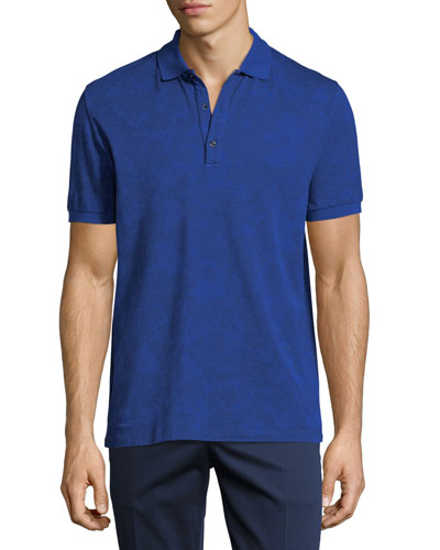 Jersey Paisley Short-Sleeve Polo Shirt, Blue Pattern