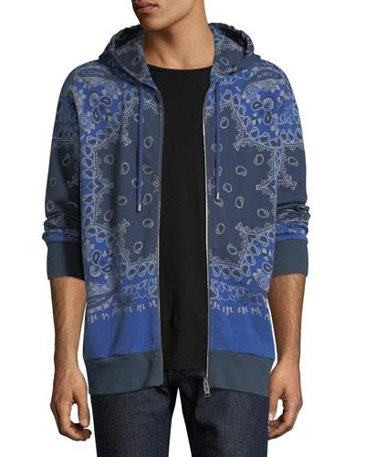 Bandana-Print Zip-Up Hooded Sweatshirt