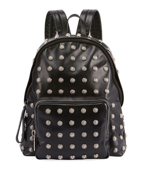 Men's Studded Leather Backpack