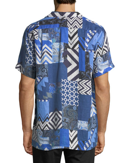 Boxed-Print Linen Short-Sleeve Sport Shirt