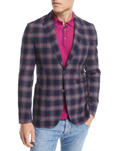 Seersucker Check-Print Sport Coat