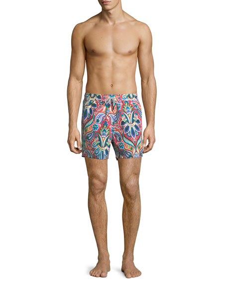 Floral Paisley-Print Swim Trunks
