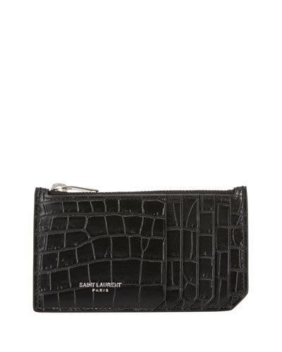 Fragment Croc-Embossed Zip Card Case