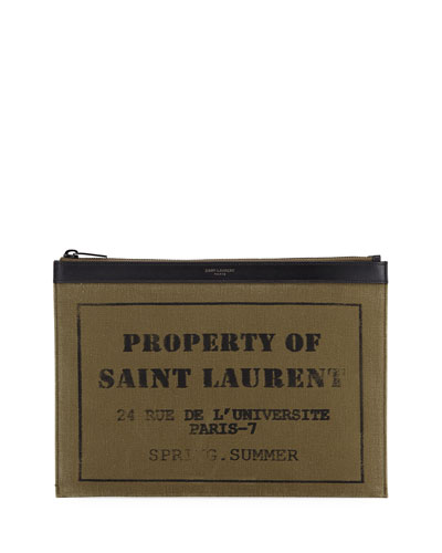 YSL Canvas Zip-Top Tech Pouch