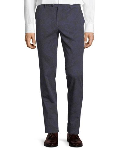 Paisley-Print Cotton Stretch Pants